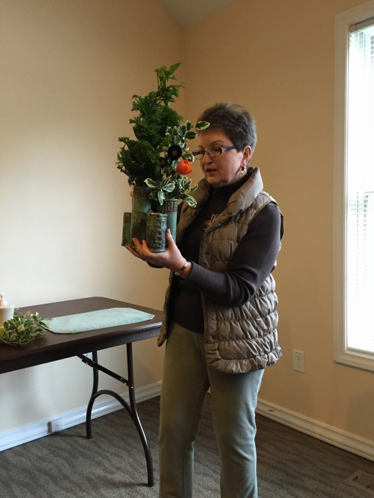 Lana Finegold demonstrating floral designs 2/2016 meeting